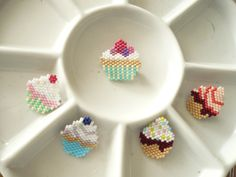 Brick stitch cupcake brooches no sugar added, gluten free