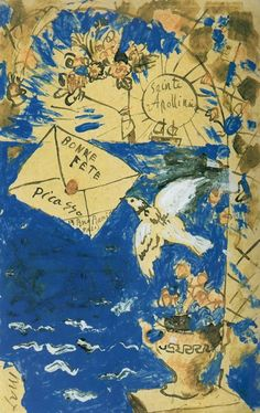 """Postcard sent by Picasso in 1905 to the poet Guillaume Apollinaire (who incidentally is credited with coining the terms """"cubism"""" and """"surrealism"""") Pablo Picasso, Art And Illustration, Kunst Online, Online Art, Cubist Movement, Art En Ligne, Envelope Art, Ouvrages D'art, Art Walk"""