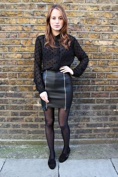 Rosie Fortescue wearing our grundy black Hefner Stud slippers as featured on her popular blog www.atfashionforte.com