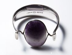 Vivianna Torun Bulow-Hube for Georg Jensen Denmark Design no 203 Sterling Silver with Amethyst c.1960