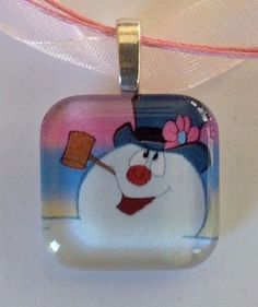 FROSTY THE SNOWMAN.  1 inch Glass Tile, Silver Plated PENDANT NECKLACE. #Unbranded