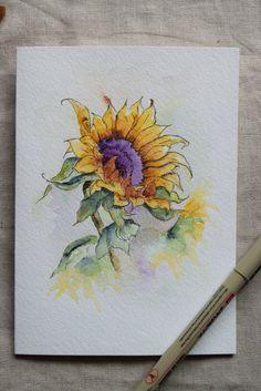 Zonnebloem aquarel geschilderd Card origineel of door SunsetPeonies