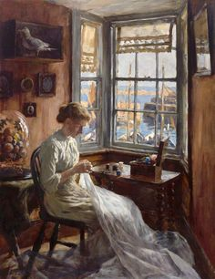 I love a through the window painting, so for a second from Stanhope Forbes 'The Harbour Window' She's mending I think. The dome behind is very typically Victorian. Paintings I Love, Beautiful Paintings, Watercolor Paintings, Images Vintage, Royal Academy Of Arts, Sewing Art, Hand Sewing, Art Uk, Caricatures