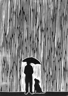 """Standing In The Rain"" linocut by Chris Bourke. http://chrisbourkeart.com/ Tags: Linocut, Cut, Print, Linoleum, Lino, Carving, Block, Woodcut, Helen Elstone, Rain, Umbrella, Silhouette, Human, Dog."