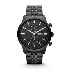 #Fossil Townsman Chronograph Stainless Steel Watch - black on black