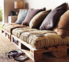 To make a couch all you need is a few pallets and some cushions.