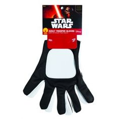 Stormtrooper Star Wars: The Force Awakens Adult Gloves Price: $12.95  Adult size Flametropper or Stormtrooper costume gloves are black and white vinyl with a slight stretch. One size fits most.  Perfect for your favorite Star Wars fan for Halloween or cosplay.  Officially Licensed Star Wars Costume.  #cosplay #costumes #halloween