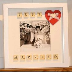 Unique+personalised+Just+Married+Photo+frame+using+by+AliJustMakes,+£25.00