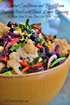 Roasted Cauliflower and Black Bean Buddha Bowl with Basil Lemon Dressing {Gluten-Free, Dairy-Free, Soy-Free, Vegan} #glutenfree