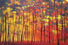 Ken Elliott Bightly Lit Woods oil on canvas, 48 x 72 inches