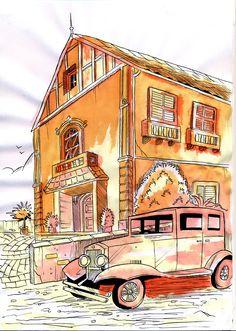 Cenário para livro em aquarela e nanquin (watercolor ilustration book)