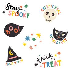 brand collaborations by zoe wodarz featuring work in pattern surface design and illustration Halloween Logo, Happy Halloween Banner, Halloween Doodle, Halloween Prints, Halloween Stickers, Halloween Kids, Autumn Illustration, Halloween Illustration, Graphic Design Posters