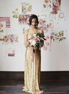 Geometric Gold Sequin Wedding Dress with a Berry Bouquet | Loblee Photography | Modern Floral Print and Gold Sequin Bridal Portraits