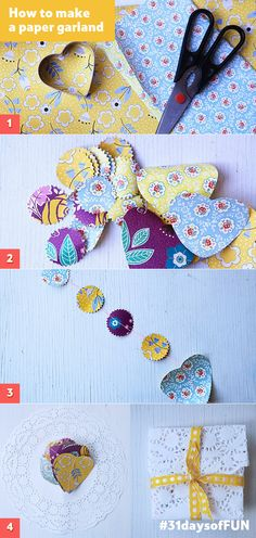 Day 26: Cut and sew cute patterned paper in  fun shapes to make paper garlands. The quintessential rainy day craft! #31daysofFUN