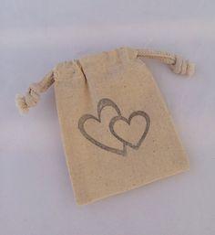 Heart Favor Bag: 25+ Entwined Hearts Drawstring Muslin Bags, Wedding Favor
