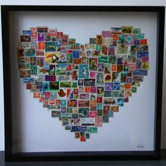 Love Stamp Artwork  The love heart stamp artwork is handmade with postage stamps from all around the world.  Spend hours studying the stamps and let your imagination run wild picturing the letters of love they may have delivered to far and exotic places.     Each piece is unique as stamps are sorted, placed and shapes created by hand and no two stamps featured are the same.