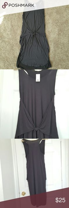 NWT Racerback Hi-Lo Tie Dress Trendy tie-front dress is great for any casual look! Soft, stretchy material. Midi length. Tie is adjustable to suit your curves. 64% modal, 36% polyester. Lush Dresses Midi