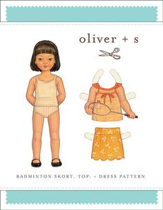 Badminton Skort, Top + Dress - PDF Pattern - Oliver+S:  Whimsical Designs Fabric Shop. This outfit can be sewn as a shirt and skirt or as a dress. It is also adorable to use as a nightgown.