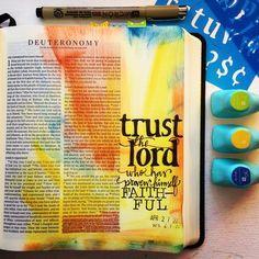 trust in the lord bible journaling Scripture Study, Bible Art, Bible Verses, Bible Journaling For Beginners, Art Journaling, Bibel Journal, Bible Doodling, Catholic Bible, Bible Illustrations