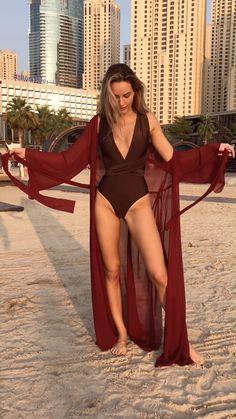Red Long Beach Kimono - Creme Robe Kimono - White Beach Cover Up - Bordeaux Tunic Beach - See-through chiffon - Chocolate one piece swimsuit - Sexy swimsuit - Swimsuit women - Bathing suit - Multiway swimsuit - Brown swimwear Sexy Outfits, Bikini Outfits, Summer Outfits, Cute Outfits, Fashion Outfits, Women's Beach Outfits, Beach Dresses, Beach Outfit For Women, Outfit Beach