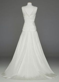 This taffeta A line wedding dress with illusion neckline exudes old world glamour with modern elements!