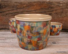 Hand thrown utensil holder in patchwork glaze by Hurricane Pottery on Etsy and Facebook. http://hurricanepottery.etsy.com