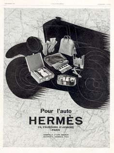 Art Deco Vintage French Ad for Hermes Accessories by reveriefrance Vintage French Posters, French Vintage, Dandy, Hermes Bolide, Magazine Mode, Car Travel, Vintage Advertisements, Vintage Outfits, Vintage Clothing