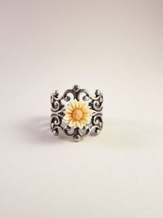 LIMITED EDITION   Two tone creamy white and sunny yellow adjustable ring by ShyofPerfect, $7.00