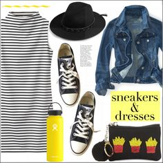 Sporty Chic: Sneakers & Dresses by pat912 on Polyvore featuring moda, Converse, Bow & Drape, Boohoo, Hydro Flask, polyvoreeditorial and SNEAKERSANDDRESSES