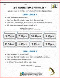 41 best time worksheets images on pinterest clock worksheets 24 hour clock time worksheets time riddles 1 ibookread Read Online