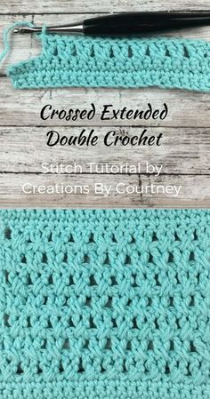 Crochet Stitches Patterns Crossed Extended Double Crochet Stitch Tutorial - Learn how to make the crossed extended double crochet to create an airy, but tense stitch. This tutorial includes step-by-step directions to accompany clear pictures. Crotchet Stitches, Stitch Crochet, Crochet Cross, Crochet Stitches Patterns, Crochet Chart, Love Crochet, Knitting Stitches, Double Crochet, Stitch Patterns