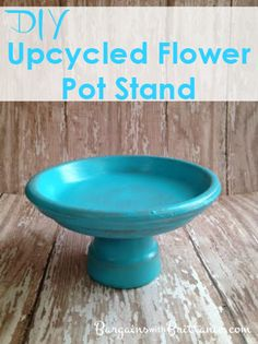 diy upcycled flower pot stand- Is it a cupcake or cake stand? centerpiece? jewelry stand? bird bath? candy dish? Decide what it will be for you!