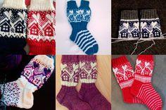 Suuri Käsityö -lehden vanhasta Metsänväki-sukkamallista poimittu yksityiskohta on innostanut käsityönystävät neulomaan somia pikkumökkejä... Knitting Socks, Christmas Stockings, Slippers, Holiday Decor, Diy, Fashion, Socks, Weihnachten, Knit Socks