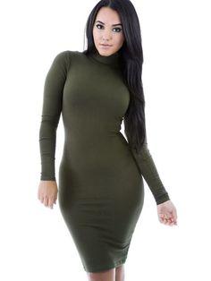Azzura Olive High Neck Midi Dress