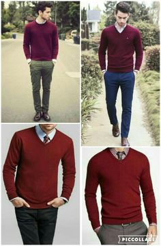 Red v neck sweater + light shirt (or red plated) + tie + navy chinos or (olive chinos) or (grey trousers) Maroon Shirt Outfit, Red Shirt Outfits, Red Sweater Outfit, Big Men Fashion, Stylish Mens Fashion, Olive Chinos, Navy Chinos, Outfit Hombre Formal, Mens Red Sweater