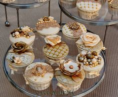 Golden accented cupcakes
