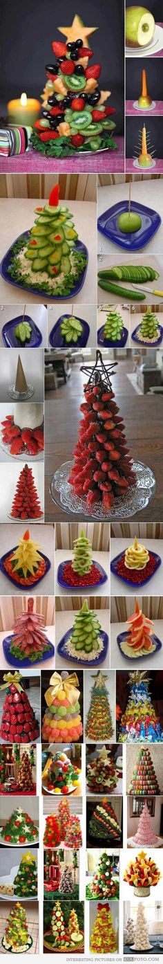 Edible Christmas trees for buffet tables made of various kinds of food - vegetables fruits . Fruit Christmas Tree, Noel Christmas, Christmas Goodies, Christmas Treats, Holiday Treats, Holiday Recipes, Christmas Decorations, Veggie Christmas, Xmas Trees