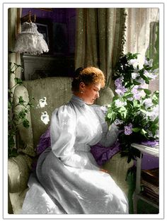 Empress Alexandra in The Mauve Room of Alexander Palace. Delicate added color is lovely.