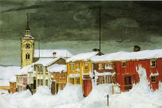 Harald Sohlberg - Street in Røros in Winter, 1903 at National Museum of Art Oslo Norway Winter Date, Dulwich Picture Gallery, Graffiti, Oslo, Oil Painting Reproductions, National Museum, Art Google, Art Museum, Landscape Paintings