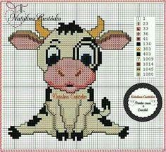 Cross Stitch Cow, Free Cross Stitch Charts, Easy Cross Stitch Patterns, Cross Stitch Kitchen, Simple Cross Stitch, Cross Stitch Animals, Cross Stitching, Cross Stitch Embroidery, Plastic Canvas Patterns