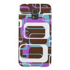 Retro Geometric Squares Brown Purple Blue Case For Galaxy S5 SOLD on Zazzle