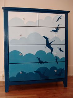 I THINK THIS ONE MAKE THE FINAL CUT!!! THE PLAN: Same color scheme as this dresser but I'll paint constellations instead and go over it with glow in the dark paint!!!
