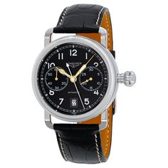 9d5c1dd9226 Longines Heritage Chrono Blcak Dial Black Alligator Leathermens Watch  L2.783.4.53.0