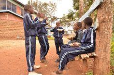Boys enjoying their lunch at project KE916