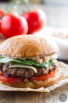 Burgers go gourmet with this Brie Burger with Sun-Dried Tomato and Artichoke Spread. A flavorful burger patty is topped with melty brie cheese, and the sun-dried tomato and artichoke spread gives this burger a wow factor!: