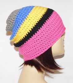 "long slouch beanie, pink yellow black blue grey multi striped, hand crochet unisex fits teens and adults 20-23"" by Jeniebugs on Etsy"