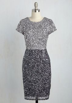 Draw a Shine in the Sand Sheath Dress by Adrianna Papell - Woven, Mid-length, Silver, Solid, Sequins, Party, Cocktail, Girls Night Out, Holiday Party, Sheath, Short Sleeves, Fall, Exceptional, Scoop, Grey, Special Occasion, Luxe, Colorblocking, Homecoming
