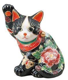 九谷焼! ☆黒盛花と蝶横座り招き猫☆ maneki-neko,cat