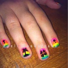 Neon Summer Beach Nail Art Manicure Nails Bright Rainbow Palm Tree Hibiscus Flower Polish And Beyond