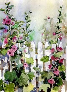 """Hollyhock Fence"" by Sharon Himes, Pocomoke Forest // I painted this loose watercolor painting in a hurry, trying to catch the dappled light on a garden fence with a busy hummingbird zooming around the pink hollyhocks. Watercolor Landscape, Watercolour Painting, Watercolor Flowers, Painting & Drawing, Watercolors, Watercolor Hummingbird, Fence Painting, Garden Painting, Illustration Blume"